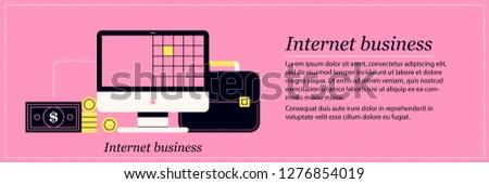 Internet business illustration. Elegant flat style on pink background. Web communication, online payment, digital technologies.