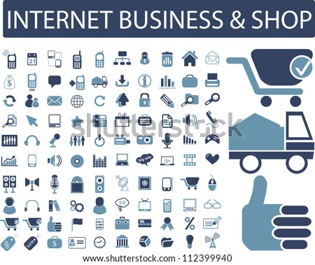 internet business & shop icons set, vector
