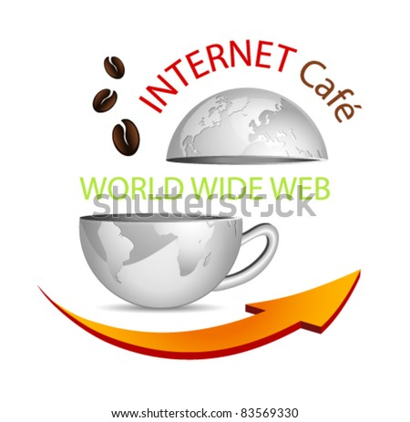 Internet cafe icon - abstract business globe in shape of a coffee cup with arrow and coffee beans - symbolic cybercafe sign