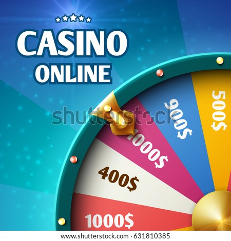 Internet casino marketing vector background with spinning fortune wheel
