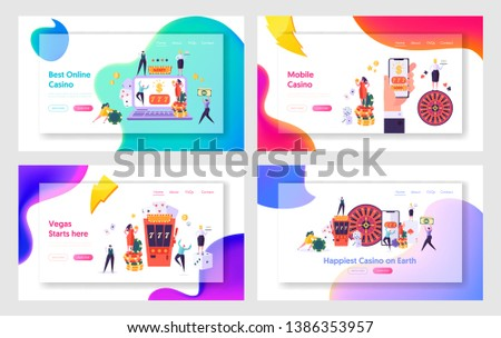 Internet Casino Services and Mobile Apps Website Landing Page Templates Set. People Gaming Gambling Games of Chance, Spending Money, Win and Lose Web Page. Cartoon Flat Vector Illustration, Banner