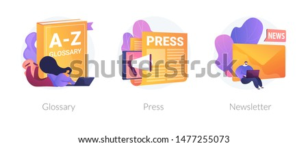 Internet chatting and emails sharing web banners set. Mass media, online daily news magazine subscription. Glossary, press, newsletter metaphors. Vector isolated concept metaphor illustrations
