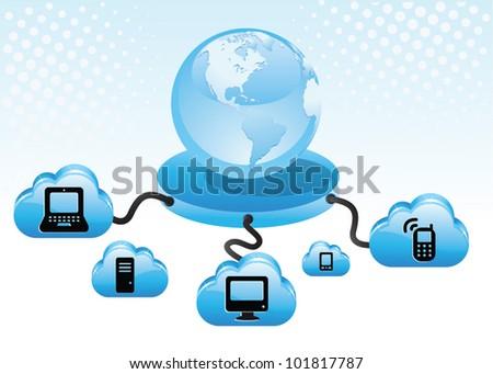 Internet cloud computing concept