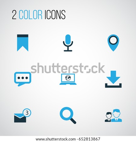 Internet Colorful Icons Set. Collection Of Location, Bookmark, Chatting And Other Elements. Also Includes Symbols Such As Web, Arrow, Inbox.