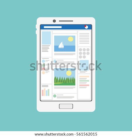 Internet communication and Social network on your tablet or smartphone in vector flat style. View the news on the smartphone. Surfing in social network.