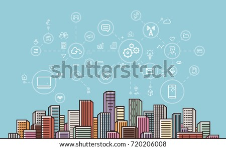 Internet communication, network, digital technology concept. Modern city background. Vector illustration