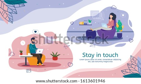Internet Communication, Social Network Messaging, Online Networking and Distance Work Trendy Flat Vector Banner, Poster Template. People with Laptop Sending Messages, Chatting and Mailing Illustration