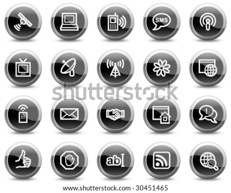 Internet communication web icons, black glossy circle buttons series