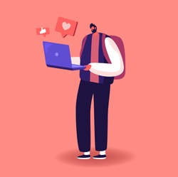 Internet Community Entertainment. Young Man Character Writing Love Correspondence, Communicating in Social Media Networks, Watching and Like Video, Chat or Dating on Site. Cartoon Vector Illustration