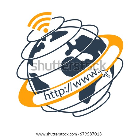 Internet concept in the form go to web , website of a planet around. Icon, silhouette in the linear style