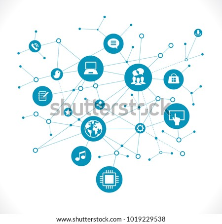 Internet concept. Social network communication in the global computer networks. File is saved in AI10 EPS version. This illustration contains a transparency