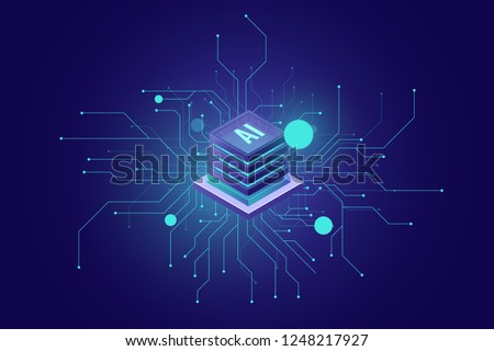 internet connection, artificial intelligence ai isometric icon abstract sense of science and technology, server room, rack graphic design vector