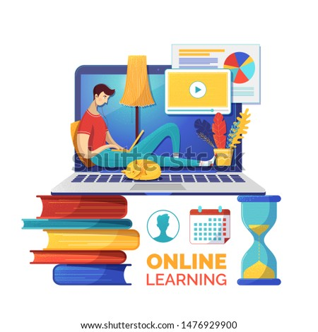 Internet courses flat vector illustration. Online lessons class timetable or schedule. Student cartoon character watching data analysis video lesson. E learning, self education poster
