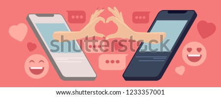 Internet dating concept, vector illustration, two hands coming out of the smartphone screens, forming a shape of a heart