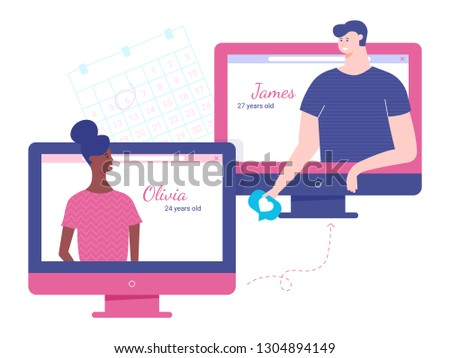 Internet dating, online meetings, likes and love, interracial marriage. Find your match. Vector illustration on white background.