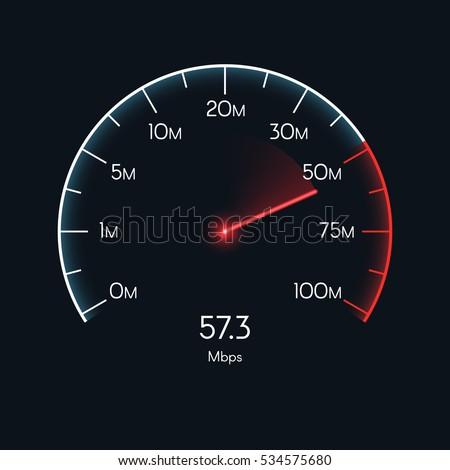 Internet digital speed meter. Vector illustration on red background