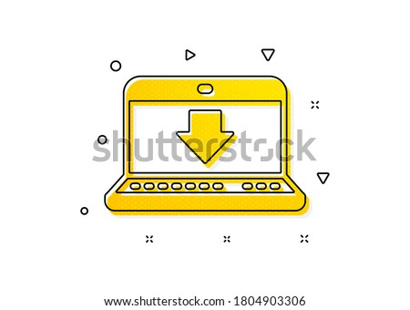 Internet Downloading with Laptop sign. Download icon. Load file symbol. Yellow circles pattern. Classic internet downloading icon. Geometric elements. Vector
