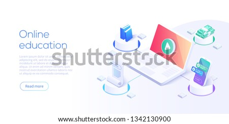Internet education or  distance training and learning courses on educational platform. Online library or ebook concept vector illustration in isometric design. Website banner layout template.