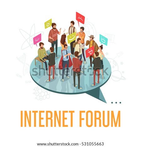 Internet forum society with communicating people concept isometric vector illustration