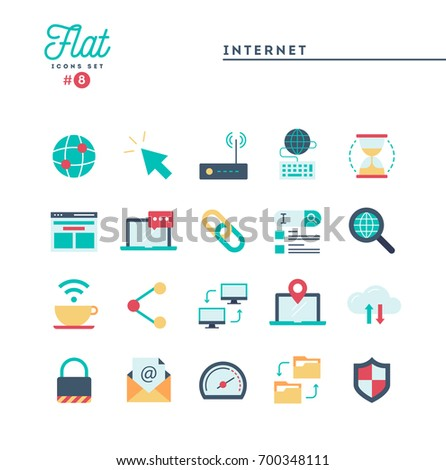 Internet, global network, cloud computing, free WiFi and more, flat icons set, vector illustration