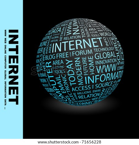 INTERNET. Globe with different association terms. Wordcloud vector illustration.