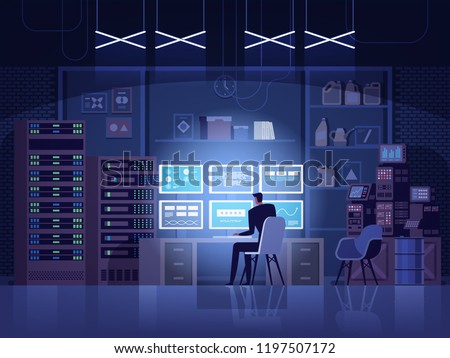 Internet hacker attack and personal data security concept. Computer security technology. E-mail spam viruses bank account hacking. Hacker working on a code. Internet crime concept. Vector illustration