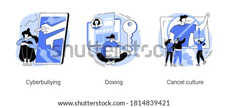 Internet harassment abstract concept vector illustration set. Cyberbullying and doxing, cancel culture, private content, celebrity shaming, hacker attack, social media boycott abstract metaphor.