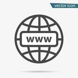 Internet http address icon isolated. Modern flat globe sign. Trendy vector network www symbol for web site design, button to mobile app. Logo online, internet illustration.