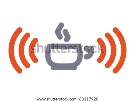 Internet icon: hot cup with wifi wireless signal