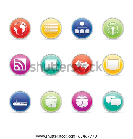 Internet icon set 2- Colored Buttons Series.  Vector EPS 8 format, easy to edit.