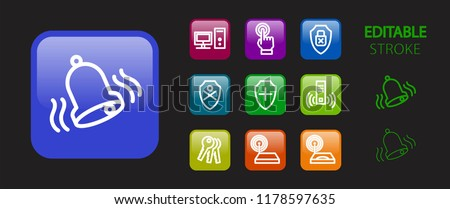Internet icon set. Security protection and computer technology buttons. 3d glossy colorful website icons. Editable stroke. Vector illustration.
