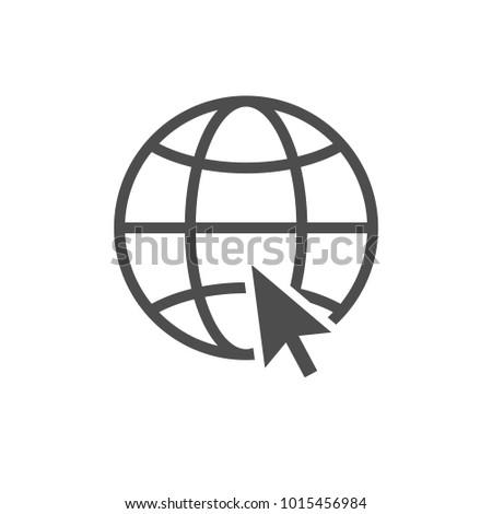 Internet icon with black computer arrow cursor