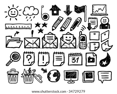 Internet icons collection. Hand-drawn vector illustration.