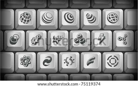 ... on Gray Computer Keyboard Buttons Original Illustration - stock vector