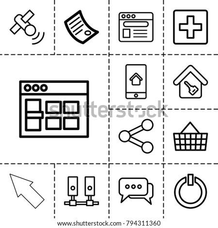 internet icons set of 13