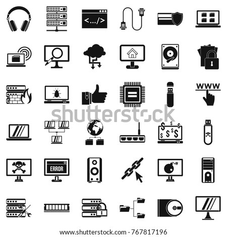 Internet icons set. Simple style of 36 internet vector icons for web isolated on white background