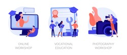 Internet learning, certificate gaining, photographer training courses icons set. Online workshop, vocational education, photography workshop metaphors. Vector isolated concept metaphor illustrations