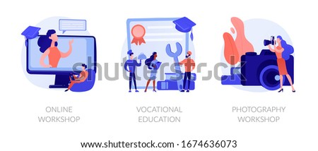 Internet learning, certificate gaining, photographer training courses icons set. Online workshop, vocational education, photography workshop metaphors. Vector isolated concept metaphor illustrations Stock photo ©