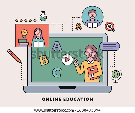 Internet lecture. The teacher is giving a lecture on the laptop screen. Education icons are decorated around. flat design style minimal vector illustration.
