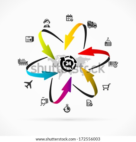 Internet logistics icon set vector illustration