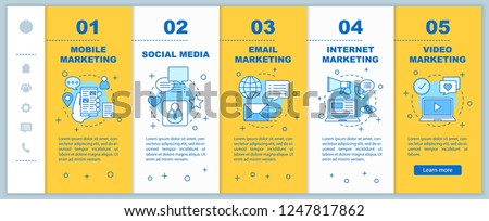 Internet marketing onboarding mobile web pages vector template. Advertising. Social media, mobile, video, email, video marketing. Responsive smartphone website interface. Webpage walkthrough screens