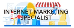 Internet marketing specialist typographic header. Advertising and promotion. Marketing strategy and communucation with a customer. Isolated flat vector illustration