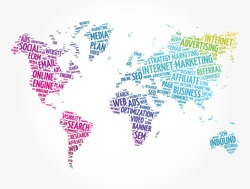 Internet marketing word cloud in shape of world map, business concept background