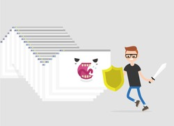 Internet monster. Hacker attack. Huge worm made of a cascade of browser windows attacking a character. Human vs computer / flat editable vector illustration, clip art