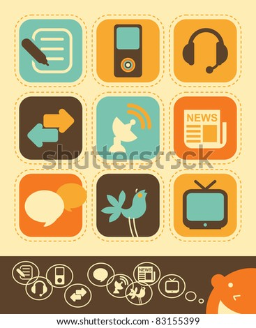 Internet network and Media icons in vintage style