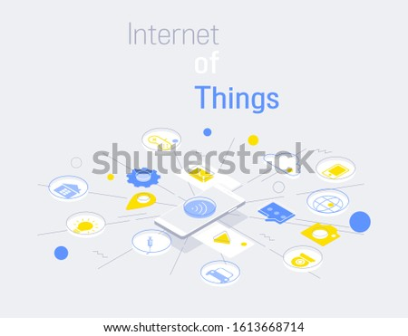 Internet of things and internet connections infographic modern linear style, mobile control connected with items and services. vector illustration.