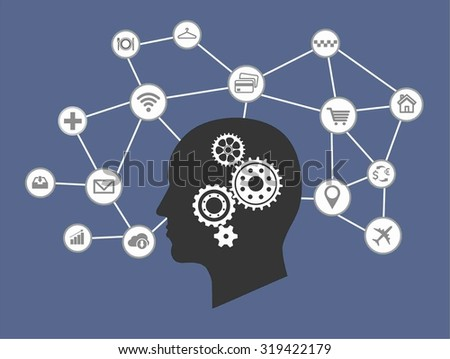 Internet of things and thinking head process concept. Network of connected mobile devices such as smart phone, tablet, thermostat or smart home. Illustration of network with hand holding tablet.