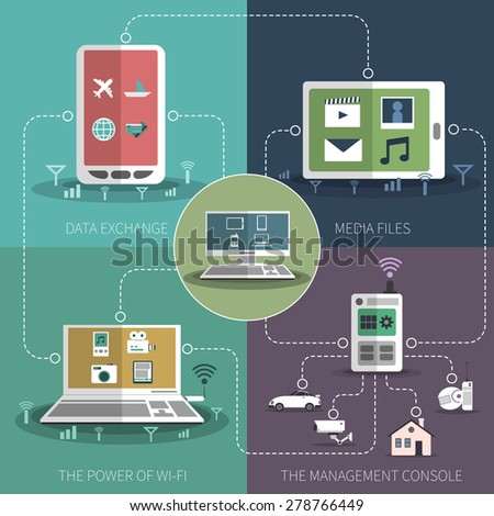 internet of things computer smart phone home appliances control flat icons composition schema. Black Bedroom Furniture Sets. Home Design Ideas