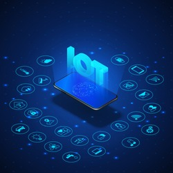 Internet of things concept. IOT isometric banner. Digital global ecosystem. Monitoring and control by smartphone. Blue technology bacoground. Vector illustration