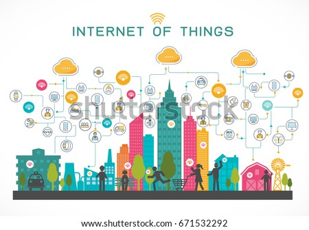 internet of things concept with people and system of town complete, house, farm, hospital, iindustry, all in cityscape view, vector illustration